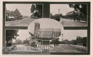 5 small views – Commercial Street from west, Welham Road from north west, St Peter's Church from south, Langton Road from south, railway level crossing from south, Norton 1900
