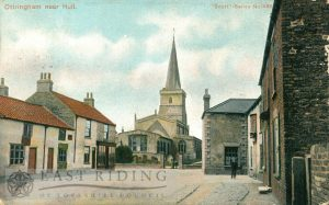 St Wilfrid's Church from north east with village street, Ottringham 1906