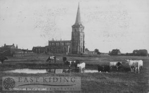 St Wilfrid's Church and village from north west, Ottringham 1900