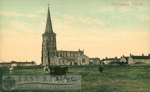 St Wilfrid's Church and village from south west, Ottringham 1900