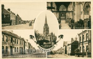 5 small scenes – St Patrick's Church exterior and interior,  Hildyard Arms and village, the village, Primitive Methodist Chapel and village, Patrington 1900