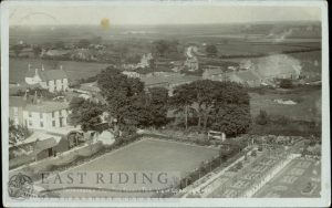 view of village from church tower, looking east, garden of Bleak House in foreground, Patrington 1915