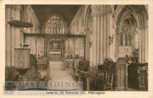 St Patrick's Church interior – crossing and chancel from west, Patrington 1910