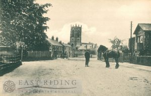 Railway Street and level crossing from south west, Pocklington 1900