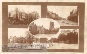 5 small views – Water Priory, Market Place from south, Market Place and Church from south east, Pocklington School, Railway Street level crossing from north east, Pocklington 1900