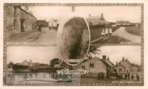 5 small scenes – village street, Moore Cottages, cliff climbers at work, pond and village green, village street and smithy, Bempton 1917