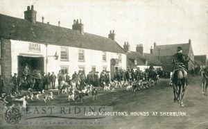 village street and Middleton Hunt, with Pigeon Pie Inn, from south west, Sherburn 1900