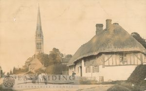 village street with St Mary's Church from south, South Dalton 1900