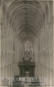 Beverley Minster interior, nave from west, Beverley c.1900s