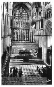 Beverley Minster interior, choir and east window, Beverley c.1900s