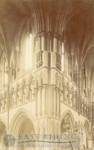 Beverley Minster interior, south west pier of north east transept, with triforium, Beverley c.1900s