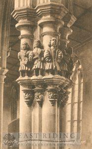 St Mary's Church interior, Minstrel's Pillar, Beverley 1920s