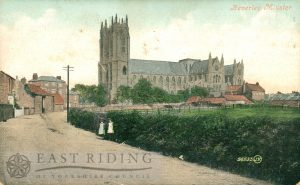 Beverley Minster from south west, with Long Lane, Beverley 1900