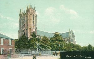 Beverley Minster from south west, with corner of Keldgate, Beverley 1900s