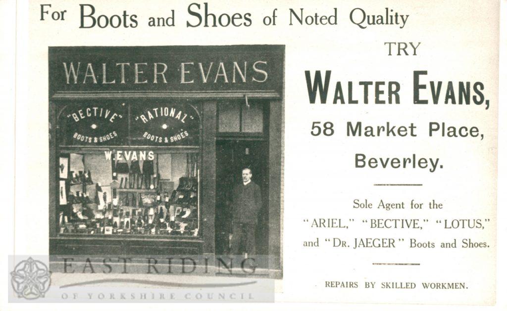 Advertisement for Walter Evans' shop, Market Place, Beverley 1900s