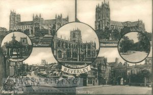 7 small views – Minster from south east, Minster from north east, St Mary's Church, Saturday Market, North Bar from west, Market Cross and New Walk, Beverley 1920s