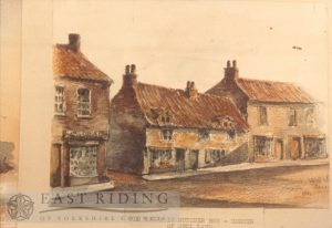 Drawing of old house in Butcher Row, corner of Well Lane, Beverley 1865