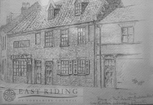 Drawing of Butcher Row, north side, shop of J Issott, Beverley 1884