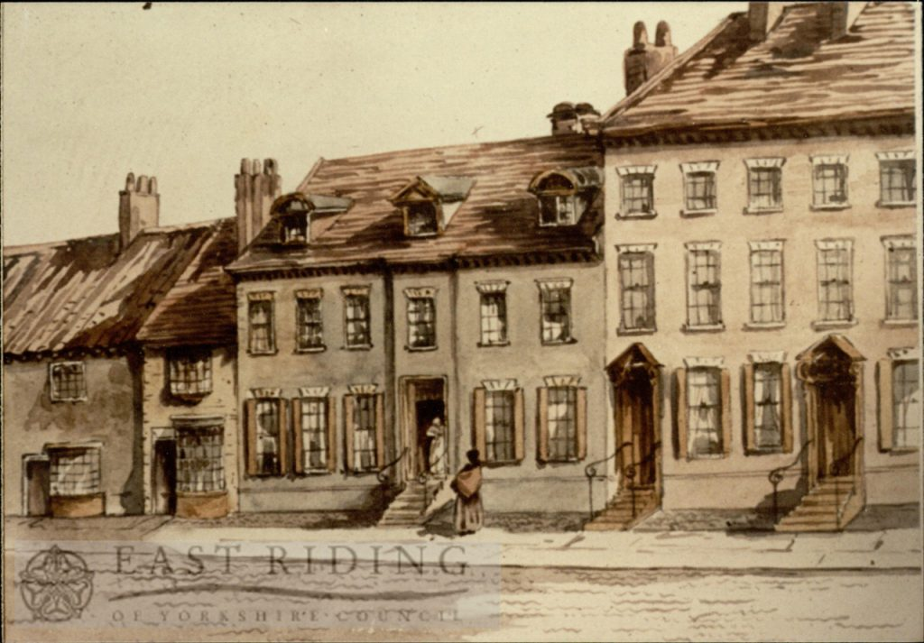 Drawing of North Bar Within from south east, house on site of St Mary's Burial Ground, Beverley