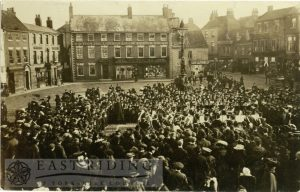 Saturday Market from north west, with East Yorkshire regimental band, Beverley 1905