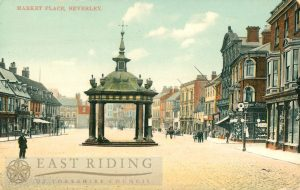 Saturday Market from north west, Beverley 1900s, tinted