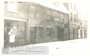 Toll Gavel, shops of T Whiting, E Gardham and Morley and Co, Beverley 1880