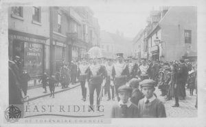 Toll Gavel from east with East Yorkshire Yeomanry procession, Beverley 1900s
