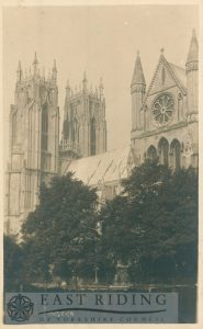 Beverley Minster, west towers from south east, with upper part of south transept, Beverley 1920s