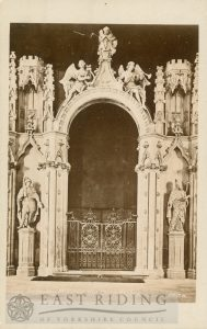 Beverley Minster interior, choir screen gates of c.1730, Beverley 1879