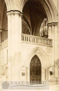 Beverley Minster interior, choir north aisle entrance, Beverley 1900s