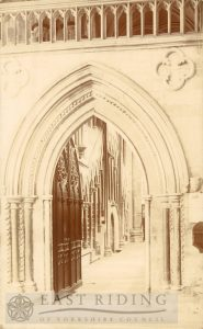 Beverley Minster interior, choir north aisle entrance from west, Beverley 1900s
