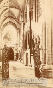 Beverley Minster interior, choir north aisle from east, Beverley 1900s
