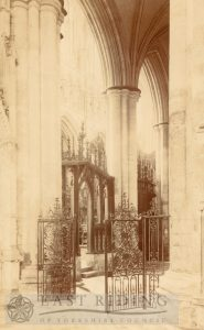 Beverley Minster interior, choir north aisle, east end from north east, Beverley 1900s