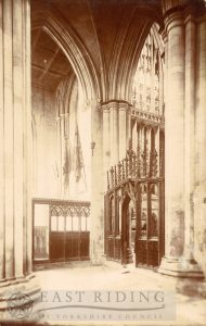Beverley Minster interior, choir north aisle, east end from north west, Beverley 1900s
