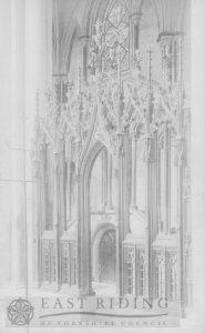 Beverley Minster interior, screen between choir and north choir aisle, Beverley 1900s
