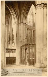 Beverley Minster interior, choir north aisle with part of retro-choir and east window, Beverley 1900s