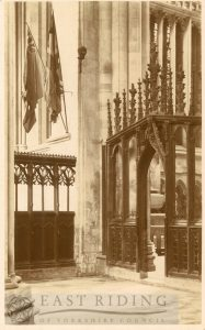 Beverley Minster interior, Percy Chapel and north choir screens from north west, Beverley 1900s
