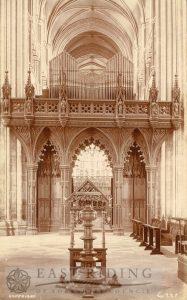 Beverley Minster interior, organ screen from west, Beverley 1900s