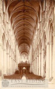 Beverley Minster interior, nave from west, Beverley 1900s