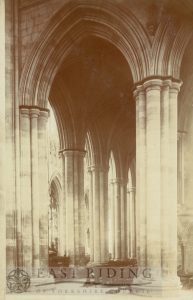 Beverley Minster interior, nave viewed from south west area of north transept, Beverley 1900s