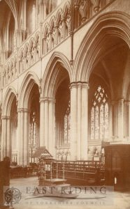 Beverley Minster interior, nave from south east, Beverley 1900s