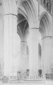 Beverley Minster interior, nave viewed from north east area of south transept, Beverley 1900s