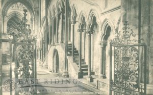 Beverley Minster interior, choir north aisle from south east, Beverley 1900s