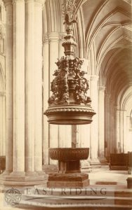 Beverley Minster interior, font and font cover from south west, Beverley 1900s