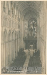 Beverley Minster interior, nave from west, Beverley 1920s