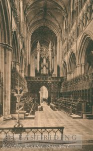 Beverley Minster interior, choir from east, Beverley 1920s