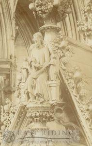 Beverley Minster interior, Percy Tomb canopy finial sculpture, Beverley 1910