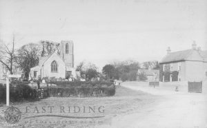 St Peter's Church and Sutton Road from south east, Wawne 1910