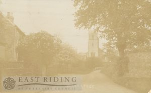 village street and St John Baptist Church from west, Wilberfoss 1914