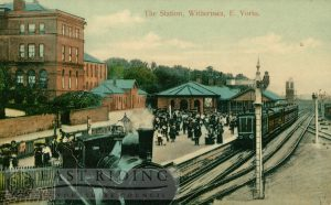 Railway Station from north, former Queens Hotel in background, Withernsea 1911